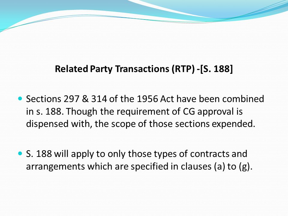 Related Party Transactions (RTP) -[S. 188]